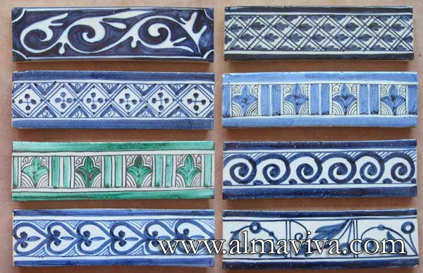Medieval frieze - Ref. MA02 - Some examples of friezes. Dimensions are following your needs, here tiles 6x22 cm (about 2 1/2''x8 1/2'')