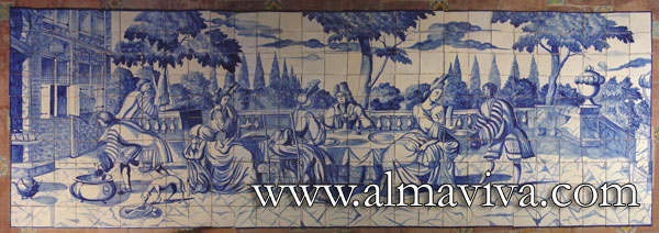 Azulejos Almaviva-Ref. A56 - Meal scene. Dim. 4,2x1,5 m (about 14'x5'). Reproduction of panels painted by Dutch artisans for a Portuguese mansion. Some of the panels seen in Portugal were in fact painted in the Netherlands