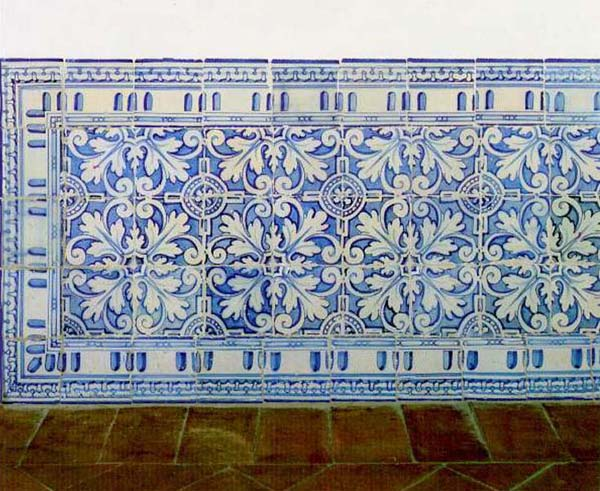 Almaviva Renaissance tiles - Ref. R08 - Panelling from the Escorial. Panelling with acanthus pattern. Escorial Palace (Spain, around 1570)