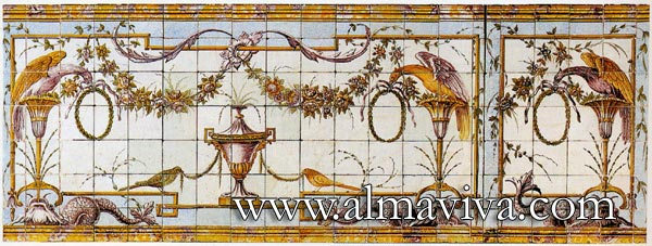 Azulejos Almaviva-Ref. A45 - Neo-classical wall tiles. 13x13 or 15x15 cm (about 5''x5'' or 6''x6''). Production of the 1800's