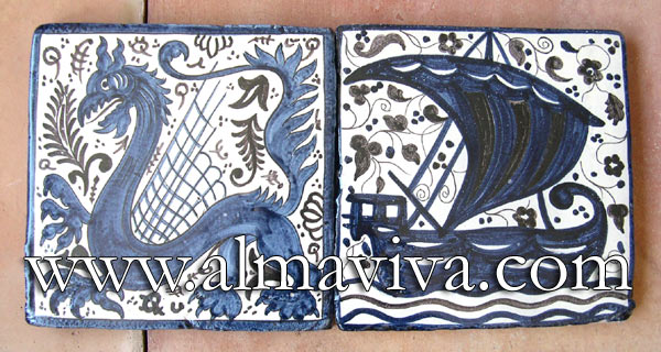 Medieval tile - Ref. MA15 - Medieval tiles, 20x20 cm (about 8''x8'') painted with manganese and cobalt oxides (see keywords)
