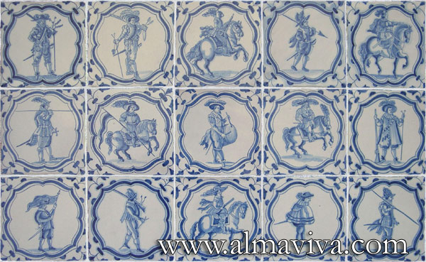 Almaviva Delft tile - Ref. DC04 - Army rabble from Beauregard. These tiles are a reproduction of those forming the floor in the Illustrious Galery, Beauregard Castle (Loir-et-Cher). They measure 15x15 cm (about 6''x6'') and are inspired by Jacques De Ghey