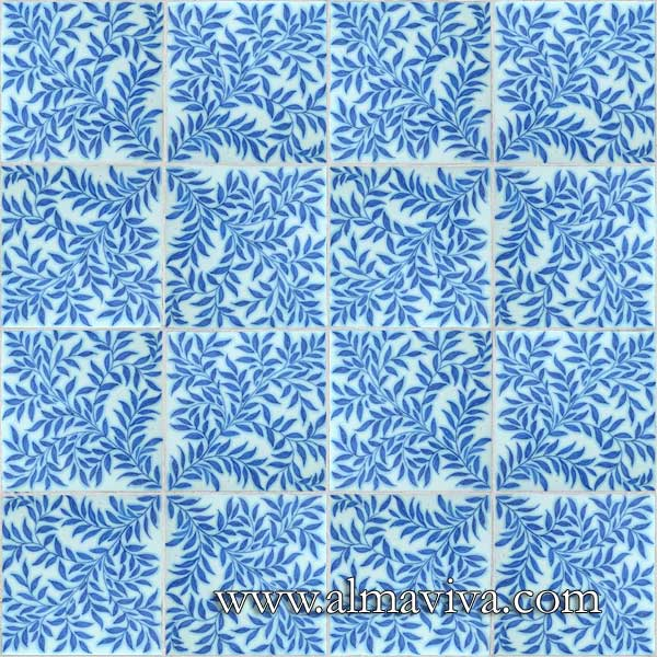 Almaviva Handmade tiles - Ref. CD33 - Leaves. Tiles 20x20 cm (about 8''x8'')