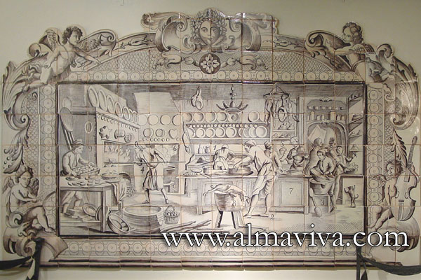 Azulejos Almaviva-Ref. A10 - ''The French pastry''. 210x125 cm (about 6,9'x4,1'). Reproduction of an engraving from Diderot and d'Alembert Encyclopaedia (next image)