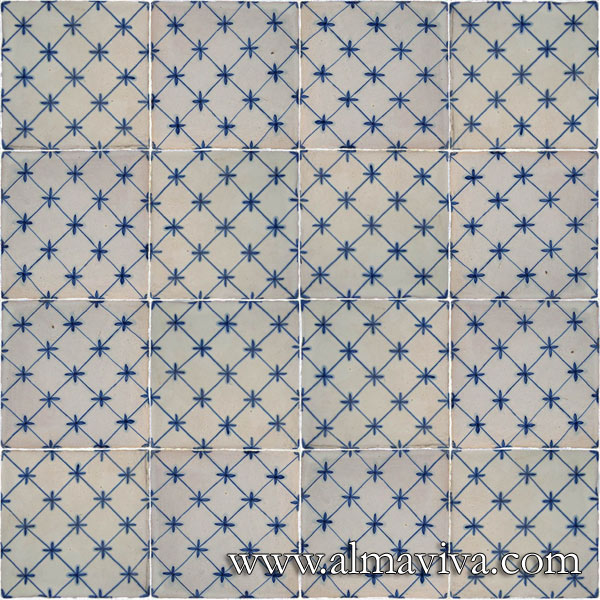 Almaviva Handmade tiles - Ref. CD45 - Blue square pattern. Tiles 10x10, 13x13 or 15x15 cm (about 4''x4'', 5''x5'' or 6''x6'')