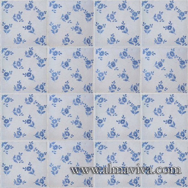 Almaviva Handmade tiles - Ref. CD17 - Flowers tiles 15x15 cm (about 6''x6'')
