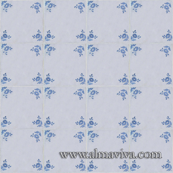 Almaviva Handmade tiles - Ref. CD17b - Tiles with corner ''flower'', 15x15 cm (about 6''x6'')