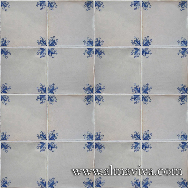 Almaviva Handmade tiles - Ref. CD01 - Tiles with corner ''vine leaf'', 15x15 cm (about 6''x6'')