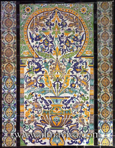 Almaviva Islamic tiles - Ref. OR16 - Qallaline panel. Tunisia production, 17th and 18th c.