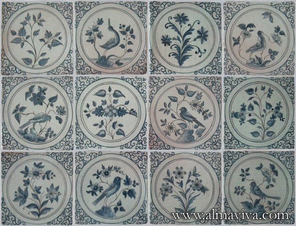 Almaviva Delft tile - Ref. DC28 - Rendition of tiles made in Montpellier, 15x15 cm (about 6''x6'')