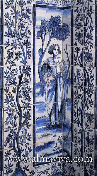 Azulejos Almaviva-Ref. A12 - Oriental Life tree. Tiles 13x13 or 15x15 cm (about 5''x5'' or 6''x6''). Typical of the Portuguese production of the 16th c., influenced by the exchanges with the Orient