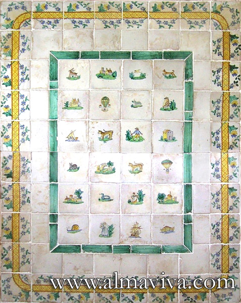 Almaviva Handmade tiles - Ref. CD34 - Tabletop. Tiles 15x15 cm (about 6''x6'')