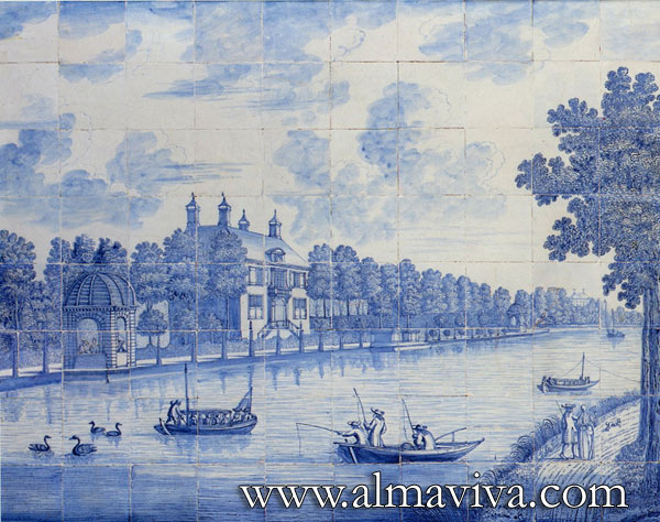 Almaviva Delft tile - Ref. D11 - River landscape. Dim. 120x150 cm (about 4'x5'). A view of the Vecht river, near Amsterdam. The Dutch bourgeoisie would have their summer residences built alongside this river
