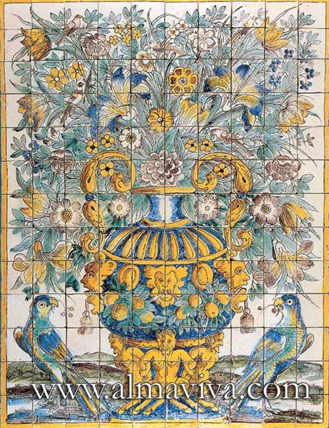 Azulejos Almaviva-Ref. A02 - Polychrome Bouquet. Dim. 195x150 cm (about 6,4'x4,9'). The original of this panel is in the Azulejos Museum in Lisbon
