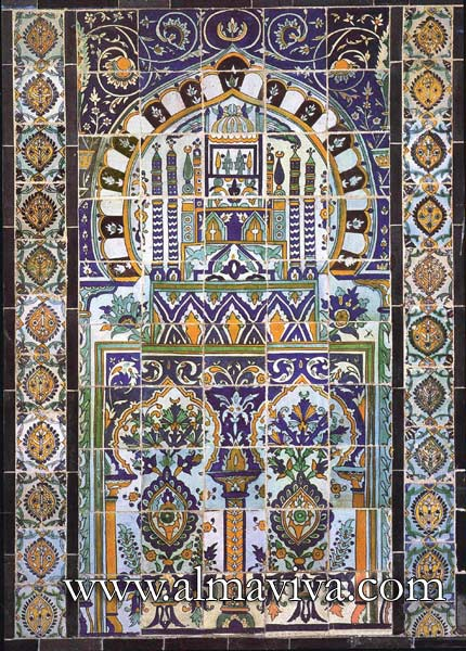 Almaviva Islamic tiles - Ref. OR15 - Qallaline panel. Tunisia production, 17th and 18th c.