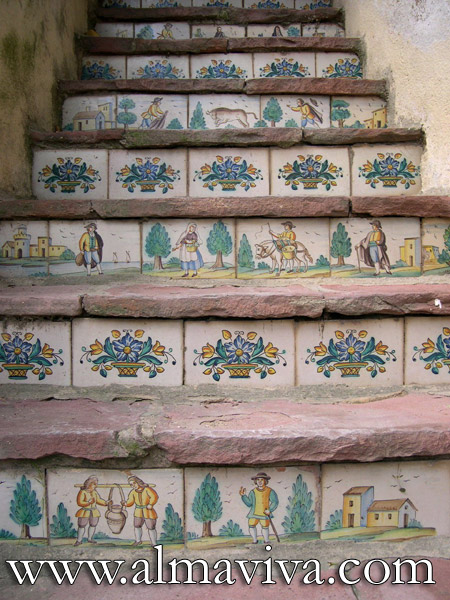Almaviva Handmade tiles - Ref. CD40 - Spanish stair risers. Tiles made to measure