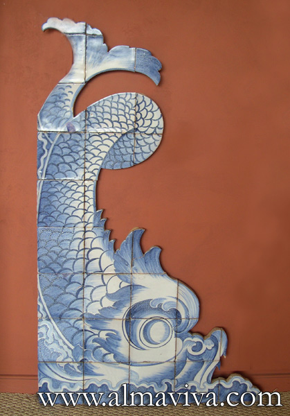 Almaviva Handmade tiles - Ref. CD37 - Triton, 125 cm high (about 4,1'), inspired by a fountain in Rome