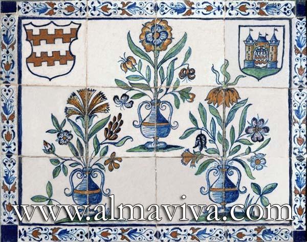 Réf. D04 - Bouquets et armoiries. Dim. 67x52 cm