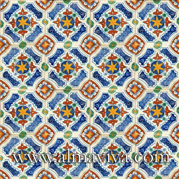 Almaviva Renaissance tiles - Ref. RC19 - Polychromatic pattern. Tiles 15x15 cm (about 6''x6'')