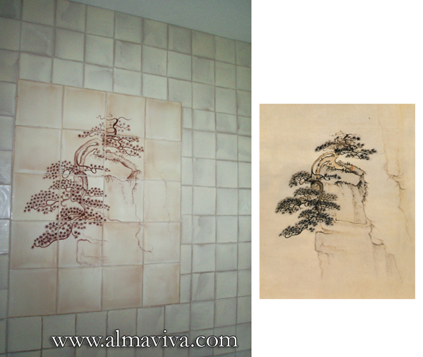 Almaviva Handmade tiles - Ref. CD15 - Tree on Mont Huang. Dim 80x100 cm (about 31,5'x3,3'). Aside, the pattern that inspired this tile panel