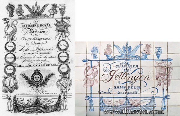 Almaviva Handmade tiles - Ref. CD26 - Replica of an engraving on tiles 15x15 cm (about 6''x6'')