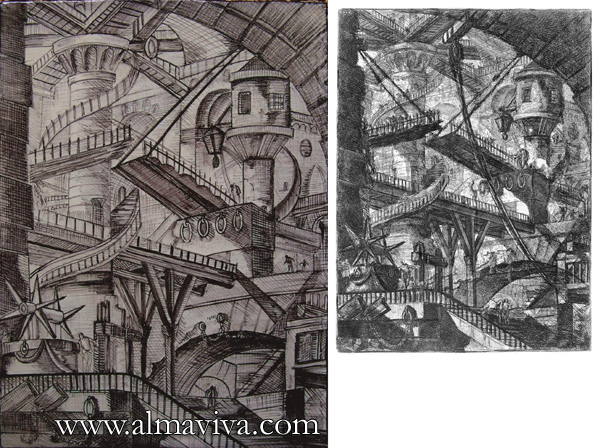 Almaviva Handmade tiles - Ref. CD20 - Jail after Piranesi. Dim. 29x40 cm (about 11''x16''). Aside, the Piranesi engraving