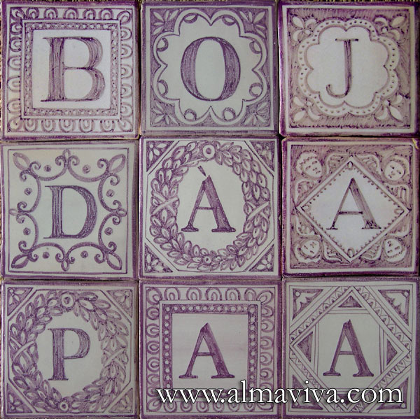 Almaviva Handmade tiles - Ref. CD35 - Letters. Tiles 13x13 or 15x15 cm (about 5''x5'' or 6''x6'')