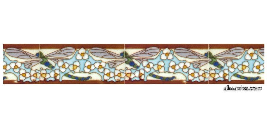 Ref. AN65 - Frieze Dragonfly - Decor cloisonné, Art nouveau style