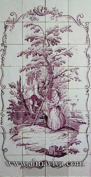 Réf. D14 - Scène bucolique. Dim. 60x120 cm