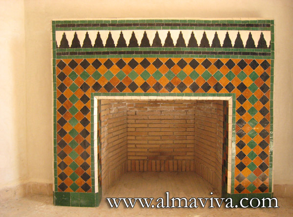 Almaviva Zellige - Fireplace, brown, green and black