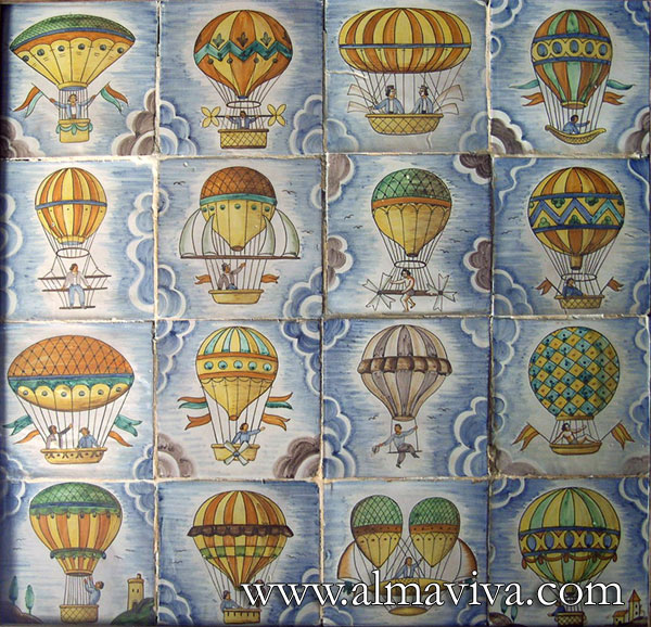 Ref. CD12 - Montgolfier. Tiles 15x15 cm (about 6''x6'')