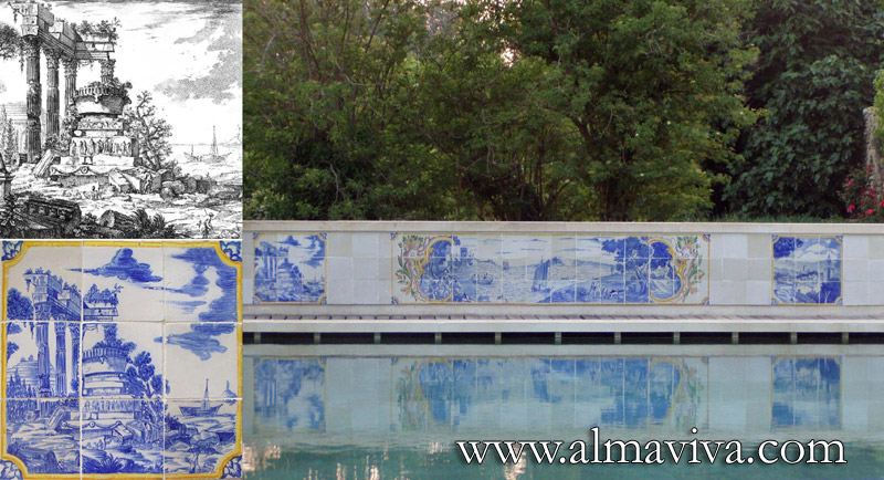 Azulejos Almaviva-Ref. A33 - Swimming pool. The left panel (in the zoom) has been inspired by a Piranesi engraving (below). Non freezing tiles 22x22 cm (about 8,6''x8,6'')