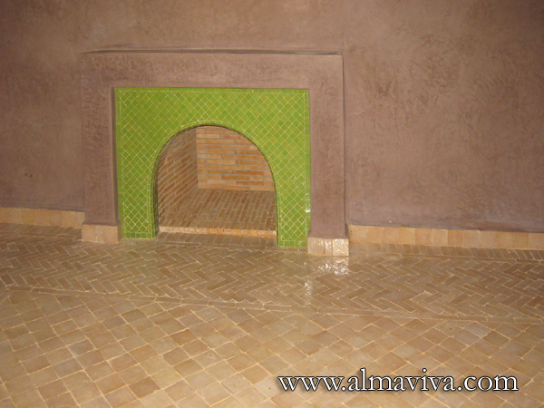Fireplace, plain green