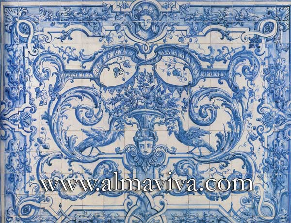 Almaviva Renaissance tiles - Ref. R24 - Decor de rinceaux. Panel inspired by an engraving by Bérain
