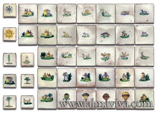 Almaviva Handmade tiles - Ref. CD05 - Figurines. Tiles 7,5x7,5 or 10x10 cm (about 3''x3'' or 4''x4'')