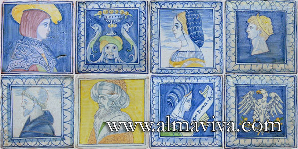 Almaviva Renaissance tiles - Ref. RC12 - Portraits. Reproduction in 20x20 cm (about 8''x8'') of the pavement of Brou Church where are buried the Dukes of Bourgogne