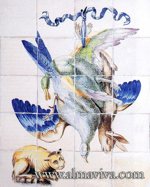 Almaviva Handmade tiles - Ref. CD03 - Hunting trophy. Dimension 60x75 cm (about 24''x30'')