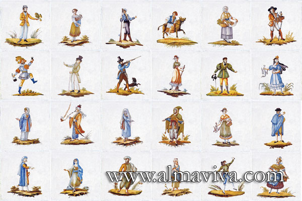 Almaviva Replica tiles - Ref. CD47 - Characters. Tiles 20x20 cm (about 8''x8'')