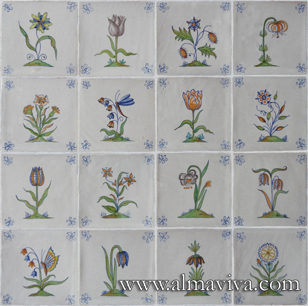 Delft Almaviva - Ref. DC01 - Polychromatic flowers. Tiles 13x13 or 15x15 cm (about 5''x5'' or 6''x6''). Corner motifs : bee
