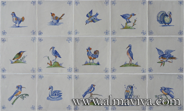 Almaviva Delft tile - Ref. DC03 - Polychromatic birds. Tiles 13x13 or 15x15 cm (about 5''x5'' or 6''x6''). Corner motifs : bee
