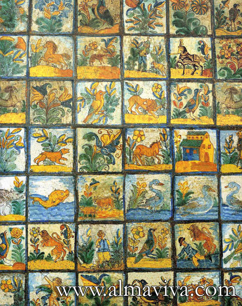 Almaviva Replica tiles - Ref. CD25 - Tiles from Arles (France), 13x13 or 15x15 cm (about 5''x5'' or 6''x6'')