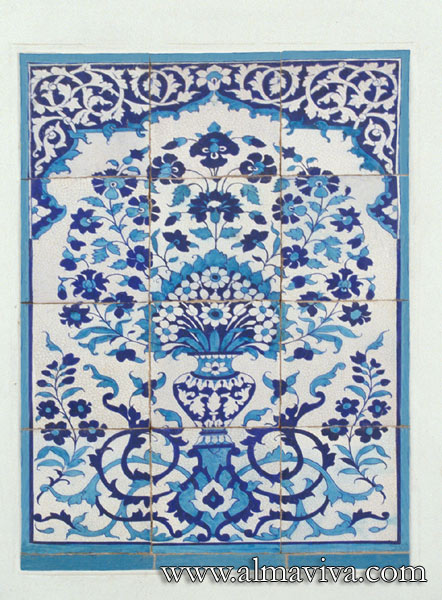 Almaviva Islamic tiles - Ref. OR4 - Floral panel in kashi gari style (see keywords), inspired from the Idgah Mosque in Lahore (nowadays in Pakistan, 18th c.)