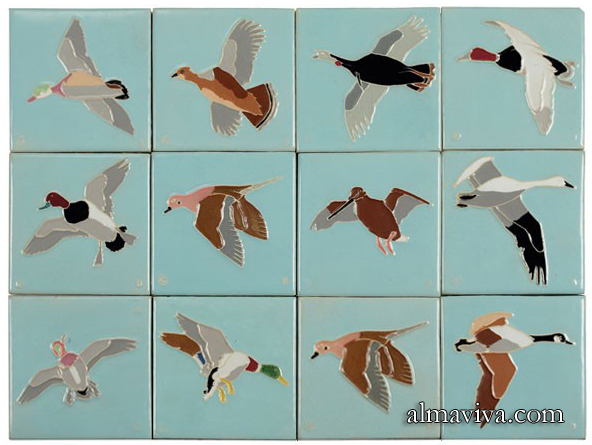 Ref. AN70 - 12 patterns of ducks, cloisonné decor