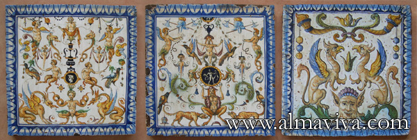 Almaviva Renaissance tiles - Ref. RC09 - Reproduction of tiles from Urbino (Italy), early 16th c. Tiles 20x20 cm (about 8''x8'')