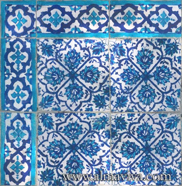 Almaviva Islamic tiles - Ref. OR7 - Sindh style tiles (see keywords), dim. 15x15 cm (about 6''x6''), and frieze