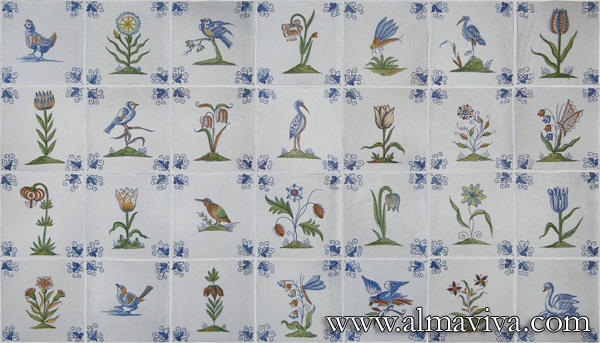 Almaviva Delft tile - Ref. DC23 - Flowers and birds. Tiles 13x13 ou 15x15 cm (about 5''x5'' or 6''x6''). Corner motif : wine leaf
