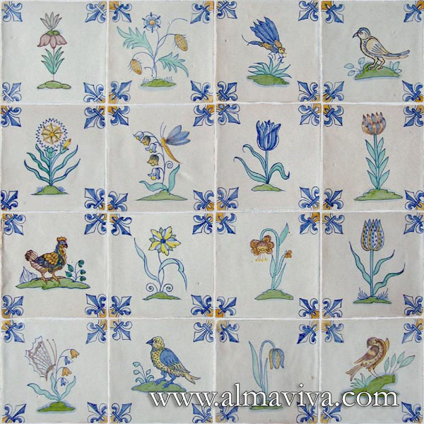 Almaviva Delft tile - Ref. DC10 - Flowers and birds. Tiles 13x13 ou 15x15 cm (about 5''x5'' or 6''x6''). Corner motif : lily