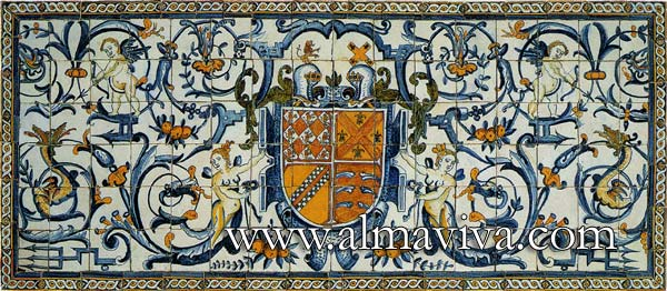 Almaviva Renaissance tiles - Ref. R03 - Panel with grotesque and coat of arms. Dim. 240x90 cm (about 8'x3')