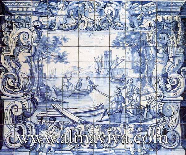 Ref. A31 - Azulejo with Maritime scene. Dim. 180x150 cm (about 5,9'x4,9')