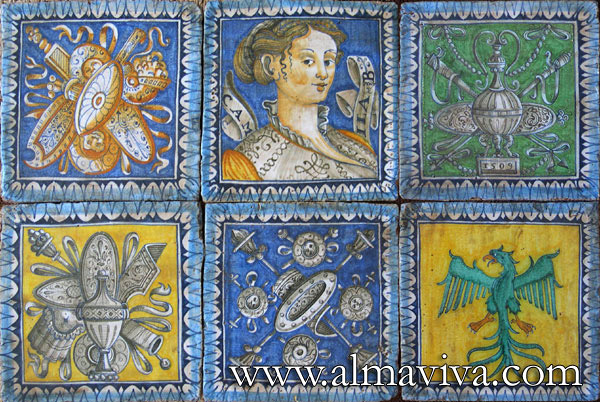 Almaviva Renaissance tiles - Ref. R13 - Urbino tiles. Portrait and trophies, 20x20 cm (about 8''x8'')
